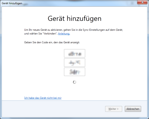 Firefox Sync Gerät hinzufügen